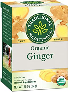 Traditional Medicinals Herbal Teas, Organic Ginger, 16 Tea Bags (Pack of 3)