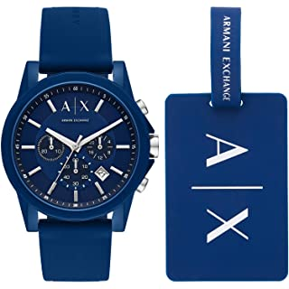 Armani Exchange AX7107 Silicone Analog Casual Watch and Bracelet for Men
