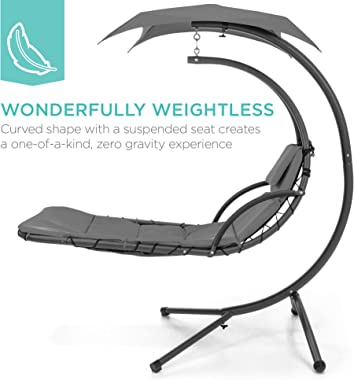 Best Choice Products Outdoor Hanging Curved Steel Chaise Lounge Chair Swing w/Built-in Pillow and Removable Canopy - Charcoal