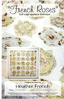 French Roses Quilt Pattern, Easy Soft (Raw) Edge Applique, 57 Inches Square Finished Size