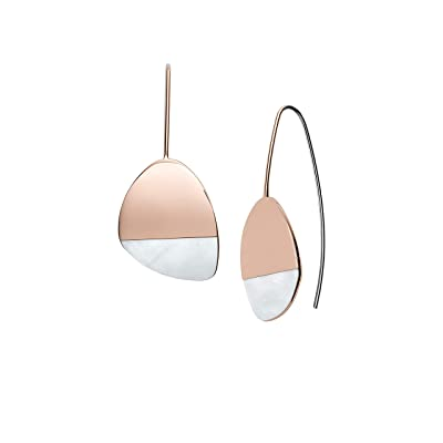 Skagen Agnethe Rose-Tone Mother-of-Pearl Earrings (Rose Gold) Earring