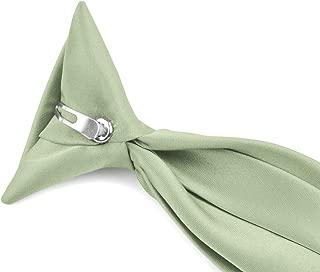 Moda Di Raza - Boy's NeckTie Solid Clip on Polyester Tie - Boys' Kids' Children's Solid Color Boys Formal Wear Pre-Tied Polyester Clip Necktie - Mint Green/14