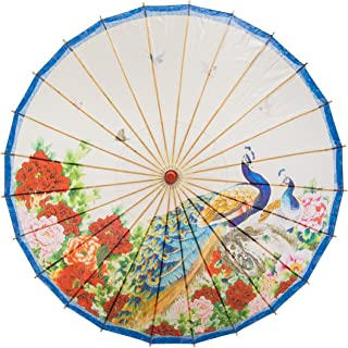 """THY COLLECTIBLES Rainproof Handmade Chinese Oiled Paper Umbrella Parasol 33"""" Peacock & Peony"""