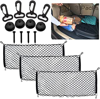 MOAMUN 3PCS Adjustable Envelope Trunk Cargo Net with Hooks for Car SUV Truck, Universal Stretchable Pocket Bed Nets Vehicl...