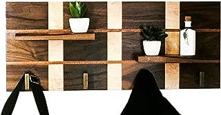 Hand Crafted Modern Wood Coat Rack - Made of Mahogany, Walnut & Maple Hallway Entryway Shelf Wall Organizer - Coat Rack Wall Mounted - Wall Hooks - Upscale Design