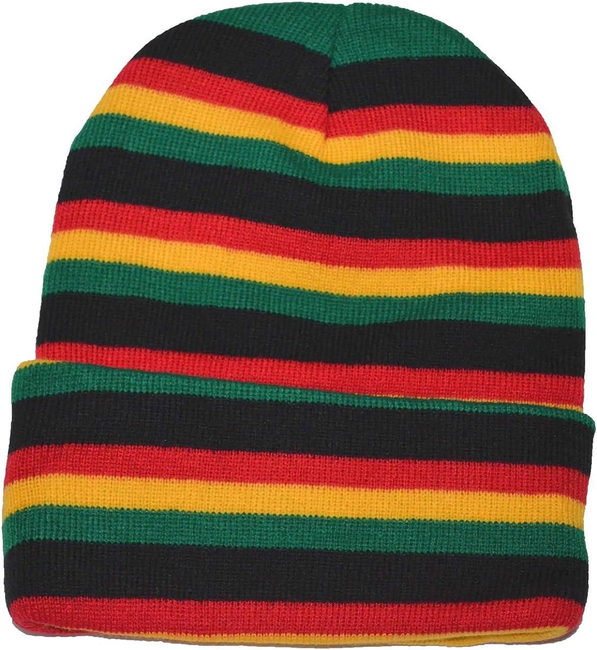 Pyin Men's Rasta Long Beanie Knit Hat Yellow Green Price reduction Black Red Seattle Mall