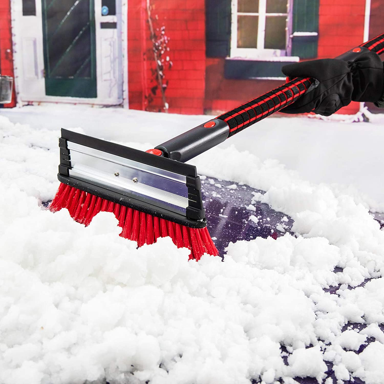 COFIT 2 in 1 Detachable Car Snow Brush with Ice Scraper Small Car Brush Auto Snow Removal with Foam Grip for Small Car Auto Windshield Windows 26in