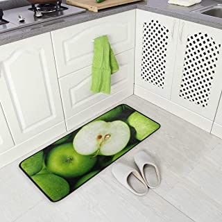 Jereee Green Apples Non-Slip Kitchen Mat Rectangle Polyester Doormat Floor Runner Rug Home Decor 39