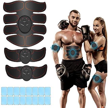 iThrough Elettrostimolatore per Addominali, Elettrostimolatore Muscolare, EMS Stimolatore Muscolare, ABS Trainer/Toner per Addome/Braccio/Vita/Gambe Home Gym con 16PCS Gel Pezzi