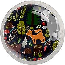 Lade handgrepen trekken ronde kristallen glazen kast knoppen keuken kast handvat,Wilde beesten van het bos