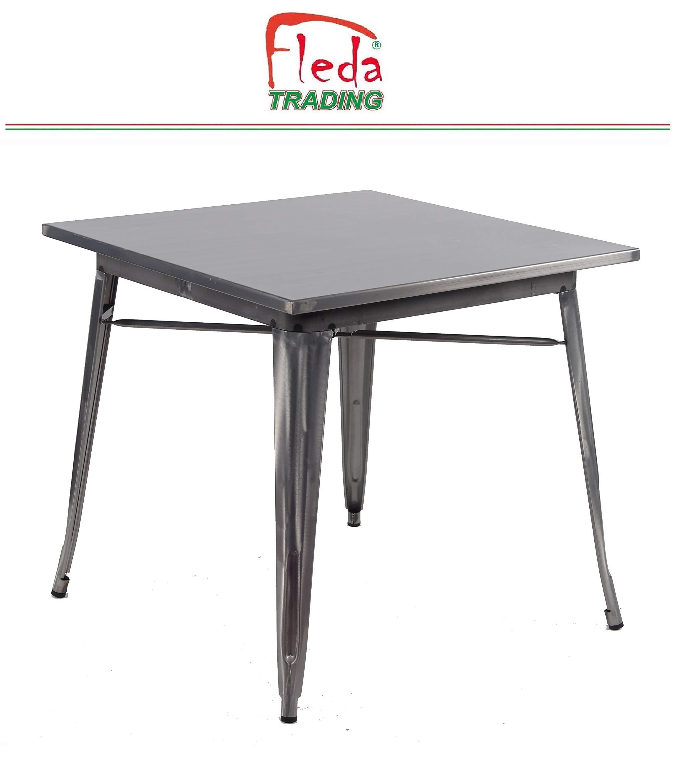 Acciaio Fashion Commerce 01-LF606 Tavolo Tolix Quadrato Canna di Fucile 80x80x75 cm