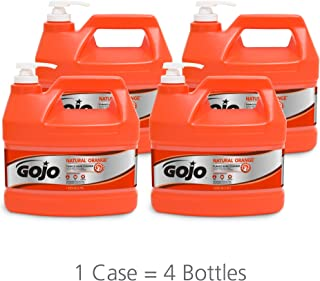 GOJO 0955-04 Natural Orange, Quick Acting Lotion Hand Cleaner with Pumice Pump Bottle, 1. gallons, 4 Pack