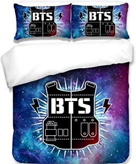 AMTAN Fashion BTS Bedding Set for Teenagers BTS Duvet Cover Set Super Soft and Comfortable 3 Pieces 1 Duvet Cover +2 Pillows Shams King Queen Full Twin Size