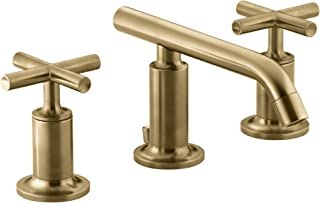 KOHLER K-14410-3-BGD Purist Widespread Bathroom Sink Faucet with Low Cross Handles and Low Spout, Vibrant Moderne Brushed Gold