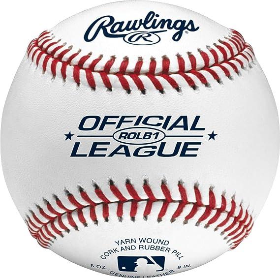 Rawlings Bola de beisebol com costura elevada, bola de beisebol oficial da Liga Júnior, capa, caixa com 12, ROLB1