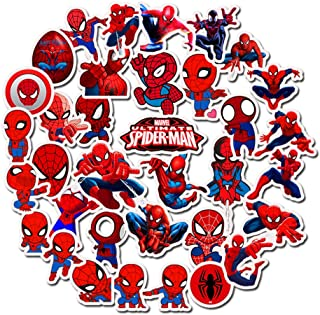 Marvel Spider Man Laptop Stickers - 35 Pack Cartoon Vinyl Decals for Water Bottle Skateboard Phone Case Car Bike Bumper Luggage Helmet Bomb Waterproof No Repeat