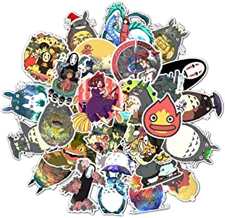 Cute Cartoon Stickers Pack 50Pcs Japan Miyazaki Hayao Anime Waterproof Vinyl Laptop Stickers for Luggage Guitar Bike Car Skateboard Graffiti Decals… (50Pcs)