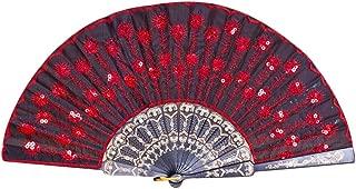 oil-LIKIO Women Hand Held Silk Folding Fan Folding Hand Held Fans Best Gift -Peacock Opening Pattern (G)