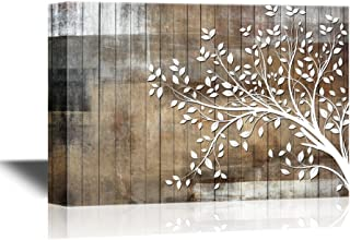 wall26 Abstract Tree Canvas Wall Art - White Tree Branch with Leaves on Wood Style Background - Gallery Wrap Modern Home Decor   Ready to Hang - 24x36 inches