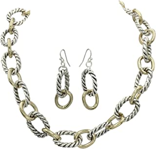 Simple Chunky Rope Twist Chain Statement Boutique Necklace & Earrings Set