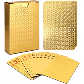 EAY Luxury Waterproof Playing Cards Deck of Cards 24K Gold Diamond Foil Poker Cards Gold Playing Cards Plastic Playing Cards