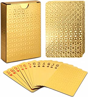EAY Luxury Waterproof Playing Cards Deck of Cards 24K Gold Diamond Foil Poker Cards Gold..