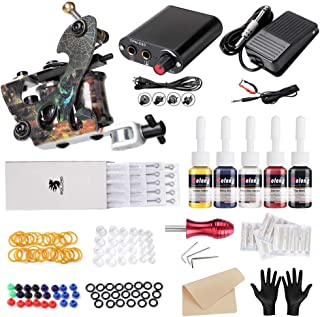 Solong Complete Starter Tattoo Gun Kit 1 Machine Professional 5 Inks Power Supply and Carry Case for beginner TK106
