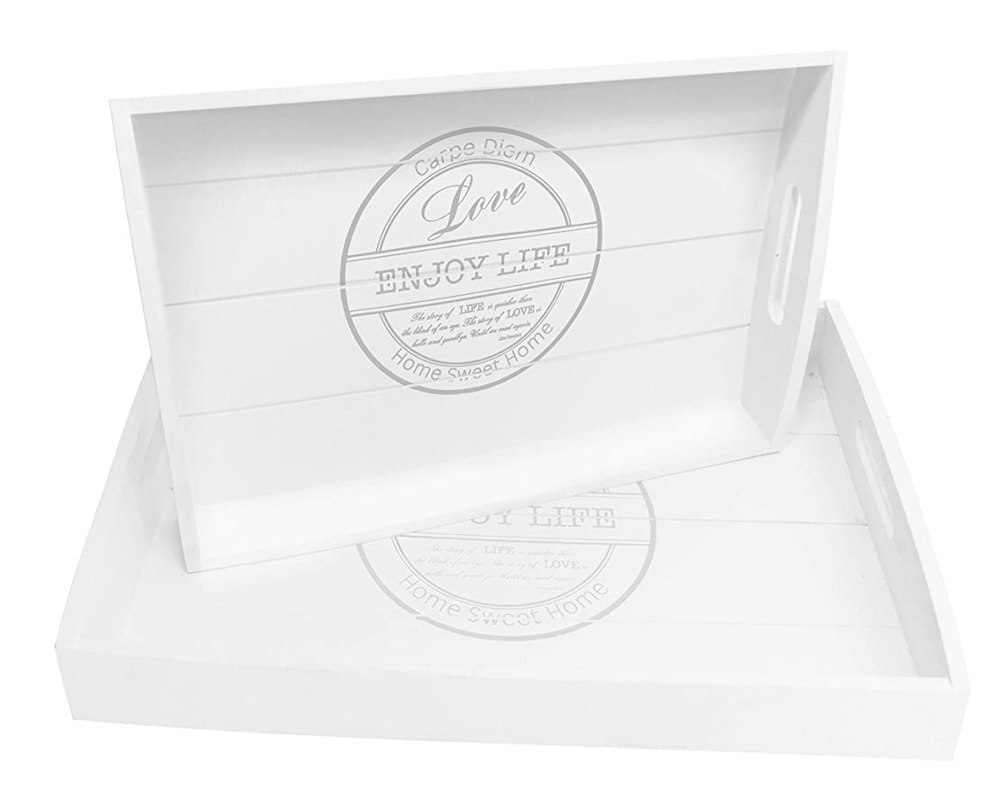 ビン差し控える暗記するBlu Monaco Wood Serving Tray with Carrying Handles - Country Rustic White Washed- SpruceBay - Organization with Style - Shabby Country Chic Design for the Home by SpruceBay