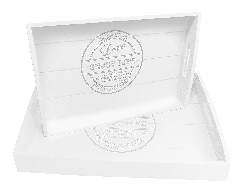 かわいらしい順応性のためBlu Monaco Wood Serving Tray with Carrying Handles - Country Rustic White Washed- SpruceBay - Organization with Style - Shabby Country Chic Design for the Home by SpruceBay