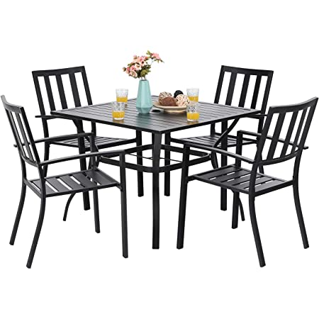 """PHI VILLA 5-Piece Metal Patio Outdoor Table and Chairs Dining Set- 37"""" Square Bistro Table and 4 Backyard Garden Chairs, Table with 1.57"""" Umbrella Hole"""