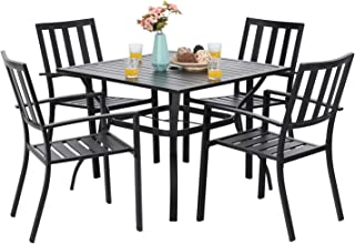 PHI VILLA 5-Piece Metal Patio Outdoor Table and Chairs Dining Set- 37