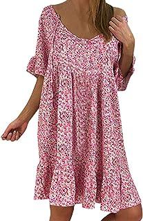 6554acbd01 ZzZz Robe Été Femme Chic Tunique Blouse Chemise Shirt Robe en Denim avec Manches  Courtes Chemisier