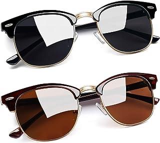 Joopin Gafas de Sol Hombre y Mujer Polarizadas Retro Clásico Medio Marco Gafas de Sol Unisex Protección UV400 para Conduci...