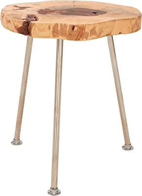 """Deco 79 59207 Wood Stainless Steel Accent Table, 16"""" x 19"""""""