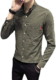 Loyomobak Men Long Sleeve Stripe Slim Fit Button Front Shirt with Pockets