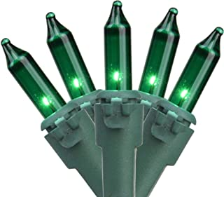 35-Count Green Mini Christmas Light Set, 7ft Green Wire