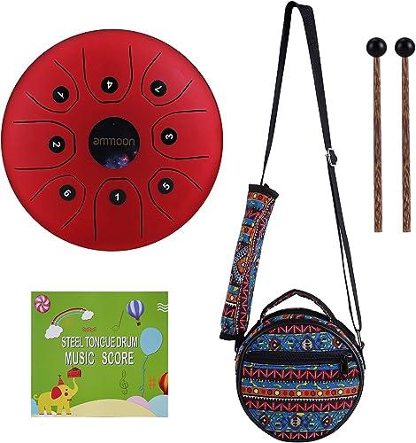 ammoon Tambour Handpan 5,5 Pouces, Steel Drum à 8 Tons, Tambour à Main-Tongue avec Maillets, Sac etc. pour Camping, Y...