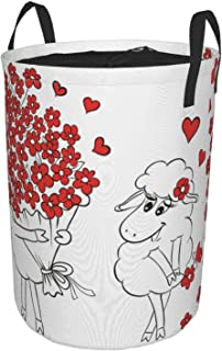 ZOMOY Grand Organiser Paniers pour Vêtements Stockage,Impression de Coeurs de chèvres Amoureux de la Saint Valentin,Panier...