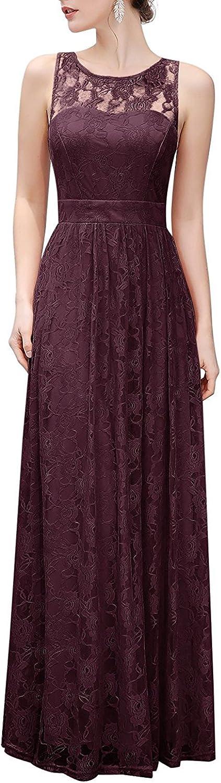 Dannifore Women's Sleeveless Floral Lace Formal Evening Dresses Long Bridesmaid Dress