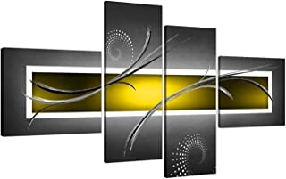 Yellow Grey White Modern Abstract Canvas - Split Set of 4-62 Inches Wide - 4259 - Wallfillers