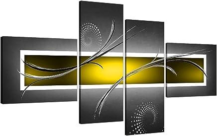 Toile Abstraite Jaune Et Grise Pour Votre Salon  4u0026nbsp;parties   4259    Wallfillersu0026reg