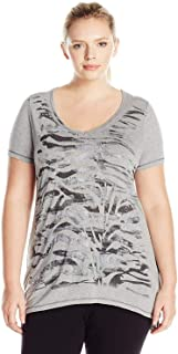 Just My Size Women's Plus-Size Short Sleeve Graphic V-Neck Tunic
