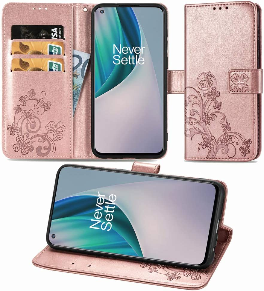ISADENSER Compatible with OnePlus Nord N10 5G Case Lucky Clover Design with Magnetic Closure Credit Card Slot Holder Flip PU Leather Wallet Case for OnePlus Nord N10 5G Clover Rose Gold SD