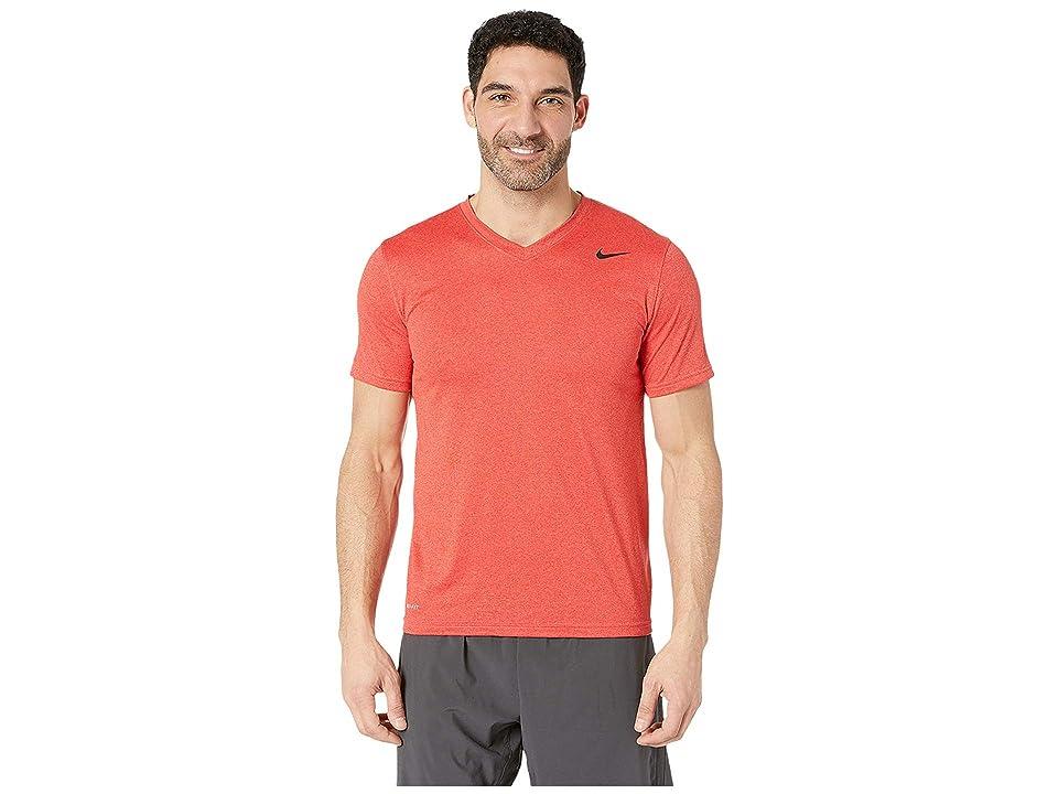 Nike Legend 2.0 Short Sleeve V-Neck Tee (Light University Red Heather/Black) Men