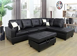 Ainehome Faux Leather 3 Piece Sectional Sofa Couch Set, L-Shaped Modern Sofa with Chaise Storage Ottoman and Pillows for L...
