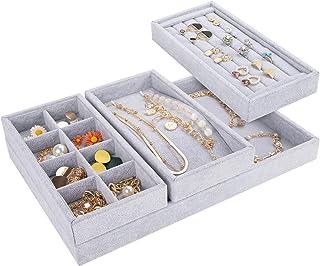 Mebbay Drawer Organizer 4 in One Stackable Velvet Jewelry Trays Organizer, Bracelet Ring Storage (Grey)