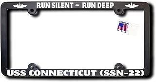 Run Silent - Run Deep USS CONNECTICUT (SSN-22) License Frame w/Reflective Text & Dolphins