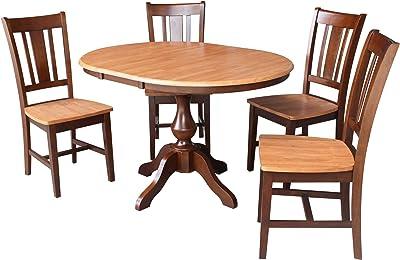 Amazon.com: Bancos Cherry café mesa de comedor con Leaf ...