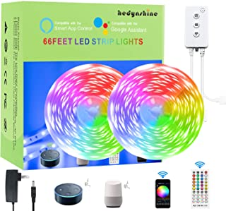 66 FEET Smart LED Strip Lights,Hedynshine RGB Light Strips 24V 44key Remote Controller, Work with Alexa/Google Home, Led S...