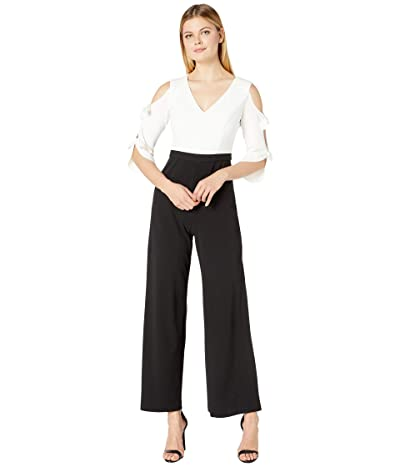 Donna Morgan Long Tie-Sleeve Stretch Crepe V-Neck and Contrast Color Jumpsuit (Black/Ivory) Women